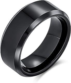 Plain Simple Wide Beveled Titanium Black Silver Tone Couples Wedding Band Ring for Men Women Comfort Fit 8MM Size 6-14