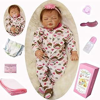 ZIYIUI Bebe Reborn Niña Mirada dormida Bebé Realista Silicona 55cm 20 Pulgadas Hecha a Mano Muñeca Reborn bebé Recién Nacido Silicona Suave de Vinilo Niña Magnético Chupete Juguete más Popular