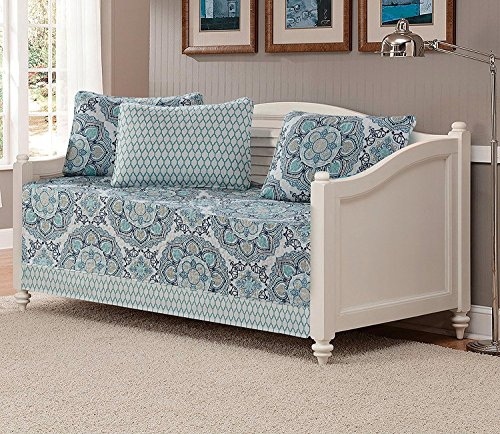 Linen Plus 5pc Daybed Cover Set Reversible Bedspread Medallion Print Navy Blue White Teal Aqua Taupe