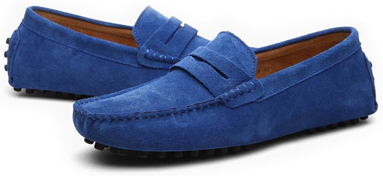Yajie-schuhe, 2018 Herren Mokassins Männer Fahren Penny Loafers Loafers Loafers Wildleder Echtes Leder Casual Mokassins Slip-on Stiefelschuhe (Farbe   Sapphire, Größe   43 EU)  a2993c