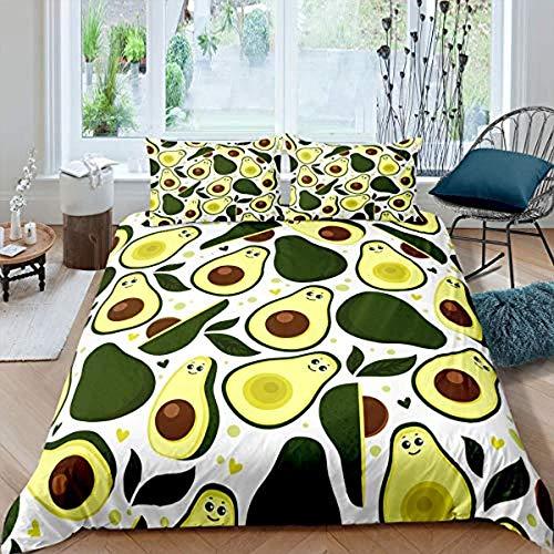 WPHRL Creative avocado fruit green yellow Duvet Cover Set Double Soft Microfiber Modern Bedding Quilt Cover with Zipper Closure 3 Pieces (1 Duvet Cover + 2 Pillow Cases) Double (200 x 200 cm)
