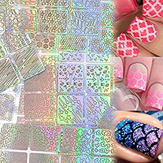 Lady Up 288 Pieces Nail Vinyls Stencils Stickers Set for Nail Art Design Cute 24 Sheets with 96 Patterns