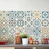 Ambiance-Live, Pegatinas, Adhesivos con diseño de Azulejos, 40 x 60 cm, 24 pegatinas 10 x 10 cm