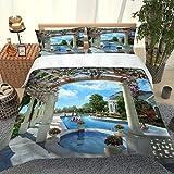 PKTMK Bettwäsche 135x200cm Blick auf den Gartenpool 3D Bettbezug Set 3 Teilig Microfaser weiche Flauschige Bettdeckenbezug mit Reißverschluss und 2 Kissenbezug 80x80cm