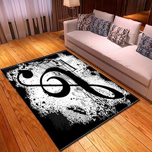 Alfombra,Suave Terciopelo Área Rugs Negro Blanco Nota Musical Impreso Gran Antideslizante Interior Tirar Al Aire Libre Alfombras De Piso De Piso para Dormitorio Sala De Estar Vivero Decorac