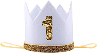iMagitek Baby Boy 1 Year Old Birthday Crown Hat Decorations Photo Prop Party Supplies Favors - White