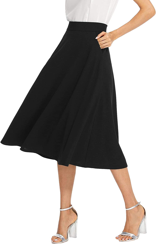 SheIn Women's Casual High Waist A Line Pleated Midi Skirt with Pockets