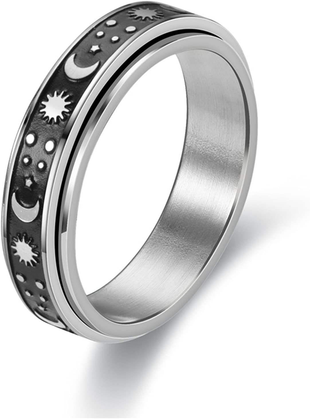 ZHAOQI Titanium Steel Spinner Rings, Moon and Star Fidget Ring, Stress Relieving Anxiety Ring, Engagement Wedding Promise Band for Women Men Size 6-11