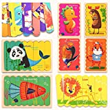 LZHZH Wood Puzzle Stick(Marine Animals+Animals Series) | Ice Cream Stick | Creative Bar Strip Jigsaw | Puzzle Double-Sided Game,Wooden Board Bar Sorting and Stacking Toys (8 Pieces for 16 Patterns)