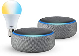 Echo Dot gift twin pack (Grey) with Wipro smart white bulb