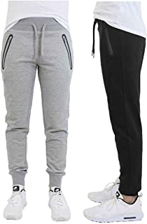 DARESAY 2 Pack of Mens French Terry Joggers Casual Active Gym Running Sweatpants with Zipper Pockets