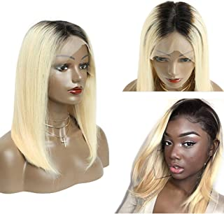 Pre Plucked Bob Wigs Short Straight 13x6 Lace Front Human Hair Wigs for Black Women 150% Density 1B/613 Blonde with Dark R...