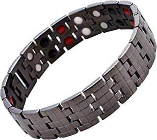Mens Titanium Magnetic Therapy Bracelet 4 Element for Arthritis Pain Relief with Free Link Removal Tool
