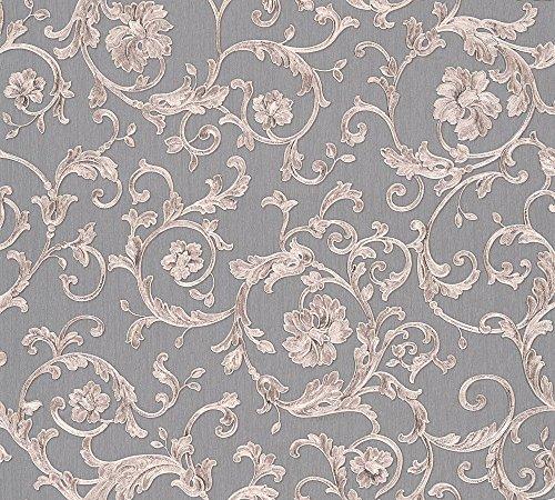 Versace wallpaper Vliestapete Butterfly Barocco Luxustapete mit Ornamenten barock 10,05 m x 0,70 m grau metallic lila Made in Germany 343265 34326-5