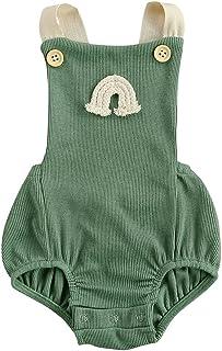 الوليد الصيف مضلع رومبير طفلة بلا أكمام قوس قزح نمط مربع طوق زر playsuit (Color : Green, Kid Size : 12M)