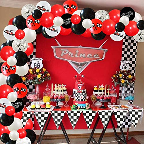 Racing Car Party Decorations Checkered Flag Balloons Garland Kit Red and Black Race Car 1st 2nd Birthday Decorations