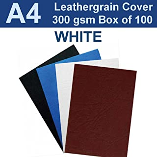 A4 Leathergrain Binding Covers/Backing 300gsm - WHITE (PK 100)