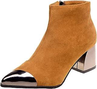 FORUU Fashion Women Pointed Toe Suede High Heel Wedges Shoes Martin Boots Zipper Boot