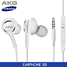 OEM ElloGear Earbuds Stereo Headphones for Samsung Galaxy S10 S10e Plus Cable - Designed by AKG - with Microphone and Volume Buttons (White)