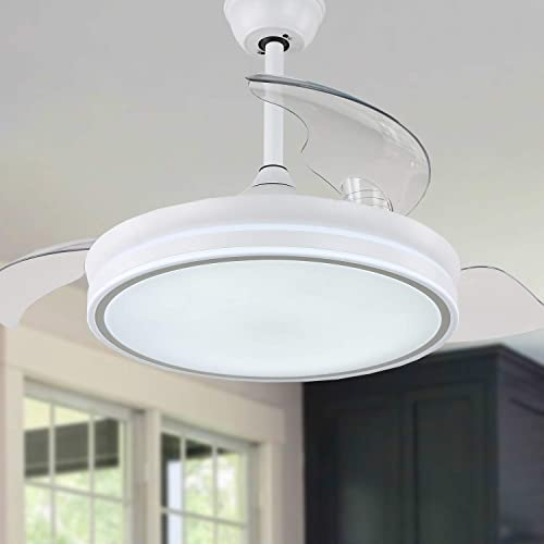 """high quality 36"""" Retractable Ceiling Fan with Lights bladeless Ceiling Fan with Lights and online sale Remote Control, Silent Motor for Living Room Dining Room lowest Bedroom, White online"""