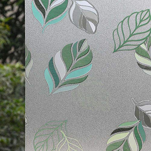 """VSUDO 1 Roll 17.7"""" by 78.7"""" Static Cling Window Film for Privacy, Leaf Pattern Window Tint for Home, Window Glass Sticker for Office (9.68 Sq. Ft Total)"""