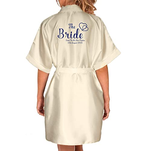 e6d589c4f6 Inspired Creative Design ® Personalised Navy Ivory Wedding Satin Kimono Robe.  Bridal Party