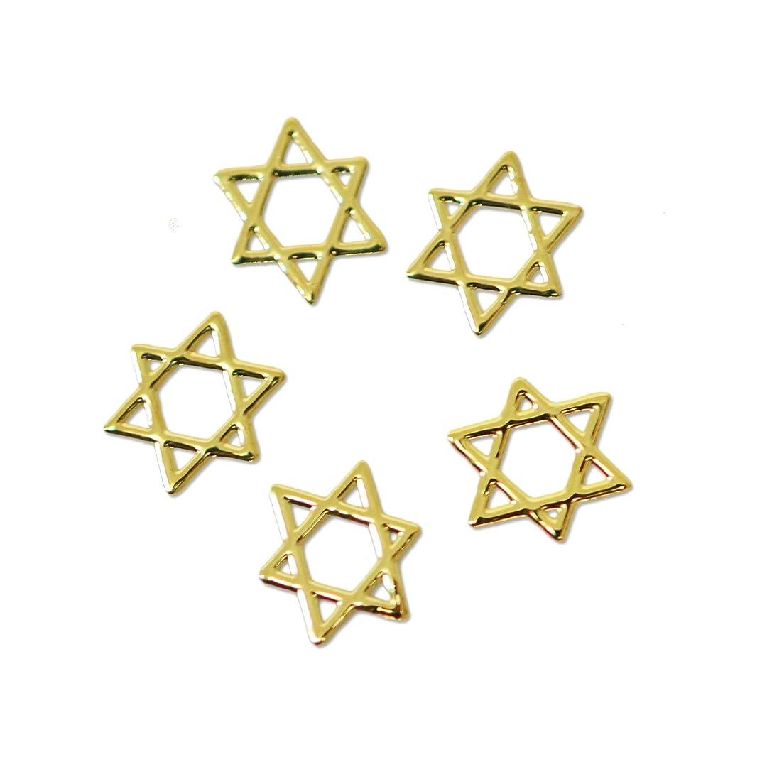 でも地殻勉強する薄型メタルパーツ10030六芒星 ヘキサグラム ダビデの星 4mm×4mm(ゴールド)/20p入り 片面仕上げ