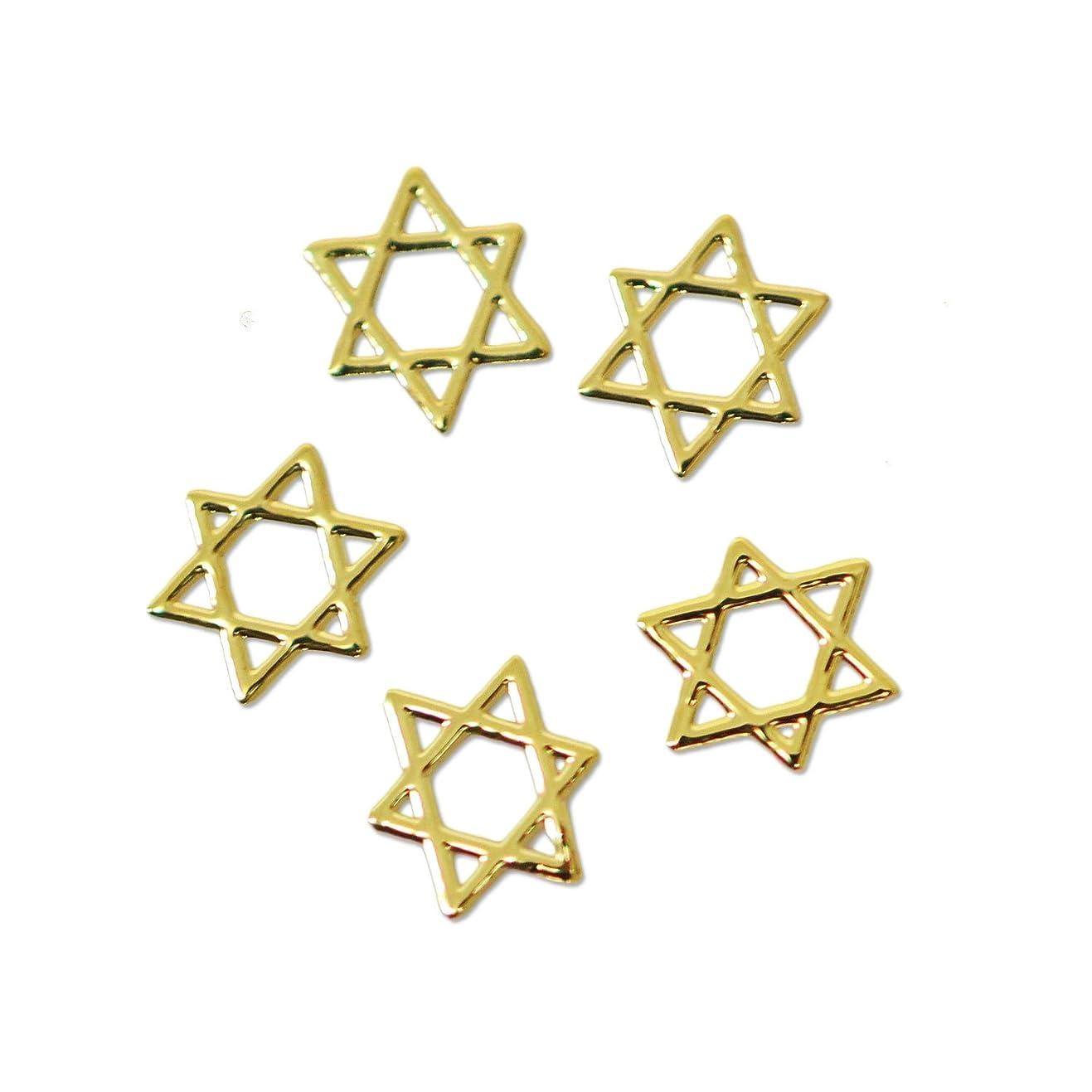 破滅スクワイアひねり薄型メタルパーツ10030六芒星 ヘキサグラム ダビデの星 4mm×4mm(ゴールド)/20p入り 片面仕上げ