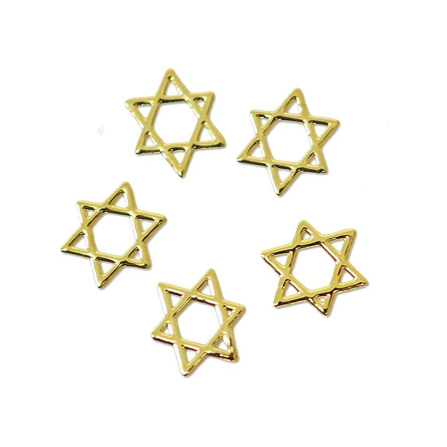 フィヨルド白鳥ゴム薄型メタルパーツ10030六芒星 ヘキサグラム ダビデの星 4mm×4mm(ゴールド)/20p入り 片面仕上げ