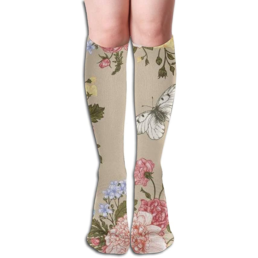 スーツケース第四メダル甘い白牡丹バラの色とりどりの花の花束とシームレスな花柄 長い靴下を実行しているユニセックスニーハイソックススポーツアスレチックスクール