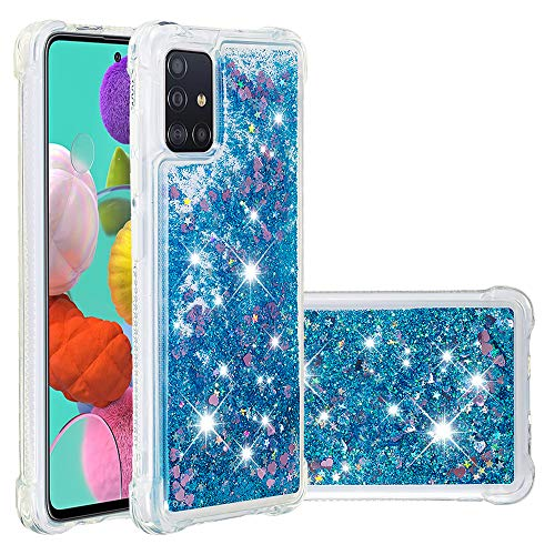 Adamarkeer Samsung Galaxy A31 Case, Transparent Glitter Bling Sparkly Shiny Crystal Clear Flowing Liquid Silicone Bumper Air Cushion Protection Cover for Samsung Galaxy A31 (Blue)