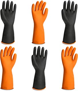 Chemical Gloves, 3 Pairs EnPoint 13.7 Inches Heavy Duty Latex Gloves Resist Strong Acid Alkali and Oil Proof Gloves for Chemical Industry Working