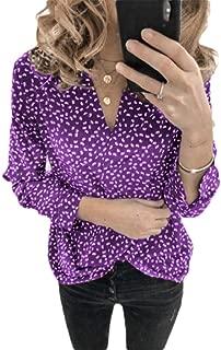 Doufine Womens Floral Print Long-Sleeve Blouse Trendy Plus Size V-Neck Tees