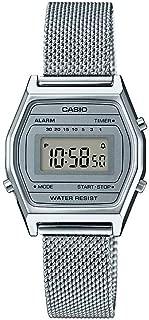 LA690WEM-7 Women's Vintage Youth Silver Mesh Band Alarm Chronograph Digital Watch