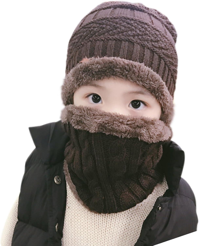 JOYEBUY 2 PCS Kids Boys Girls Hat Scarf Set Warm Snow Knit Beanie Slouchy Skull Cap Circle Scarf