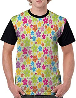 Shirts,Colorful,Sixties Inspired Colorful Flowers Hippie Motifs Flourishing Nature Illustration, Multicolor S-XXL Print Short Sleeve Baseball Ladies Tee