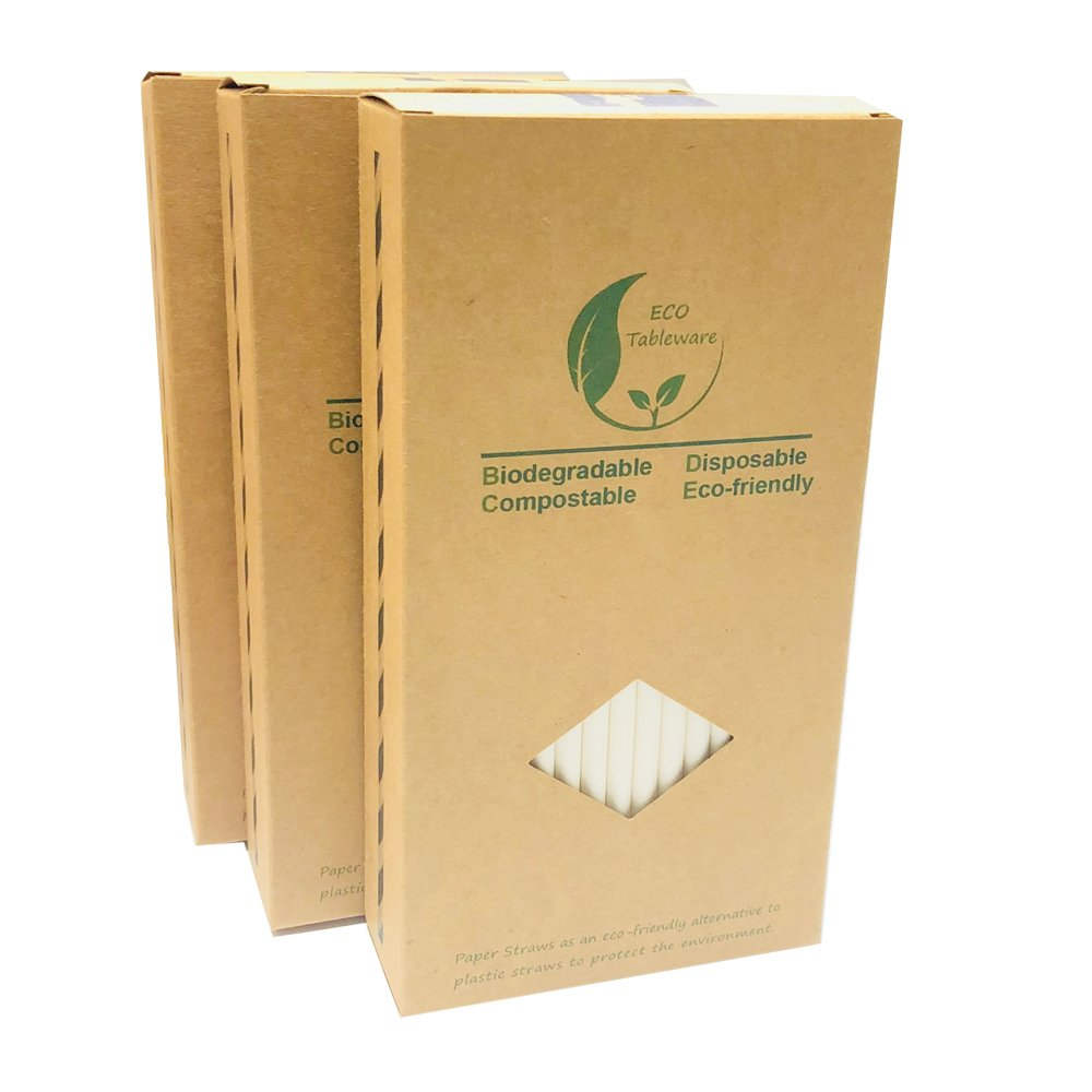 Compra Pajitas de papel blanco liso para beber, reciclable caja de ...