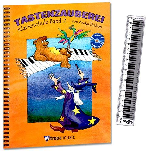 Toetsenbord band 2 - piano school van Aniko Drabon. School voor individueel en groepsonderwijs in het Duits. Cd om te oefenen en mee te spelen, 7 grappige smiley-stickers, liniaal met klavier (20 cm)