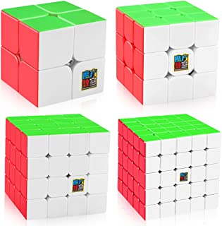 D-FantiX Speed Cube Bundle, Moyu Mofang Meilong 2x2 3x3 4x4 5x5 Stickerless Magic Cube Set with Gift Box