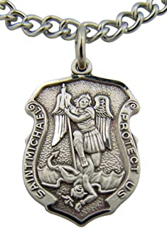 HMHReligiousMfg Saint Michael Protect Us 13/16 Inch Shield Shaped Sterling Silver Medal