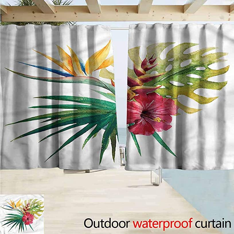 MaryMunger Blackout Curtain Floral Wild Tropical Orchid Blackout Draperies for Bedroom W55x72L Inches