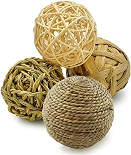 HANBEN Small Animal Activity Toy Ball,Pets Play Chew Toys Grass Ball for Bunny Rabbits Guinea Pigs Gerbils, Pack of 4