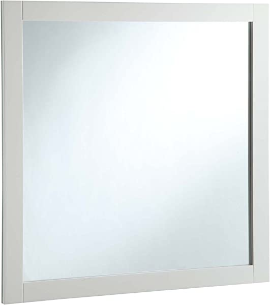 Design House Solid Wood Frame Finish 547224 30 Inch Vanity Mirror Semi Gloss White