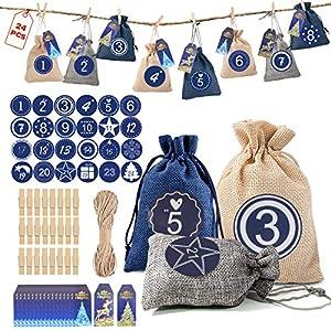 MMTX 24 Piezas Calendario de Adviento Bolsa de Regalo Navidad Bolsas de Yute para Rellenar con 24 Pegatinas y 24 Etiquetas, Decoración Navideña para el Hogar