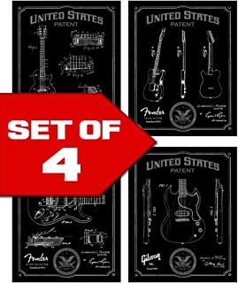 Wallables Black Classic Electric Guitar Patents Decor Set of Four 8x10 Vintage Guitar Themed Decorative Prints, Great for Bachelor pad, Office, Living Room.