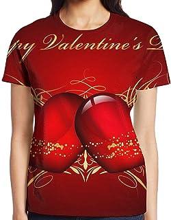 3D プリント レディース 半袖 Tシャツ Happy Valentines Day クルー ネック おしゃれ シャツ トップス