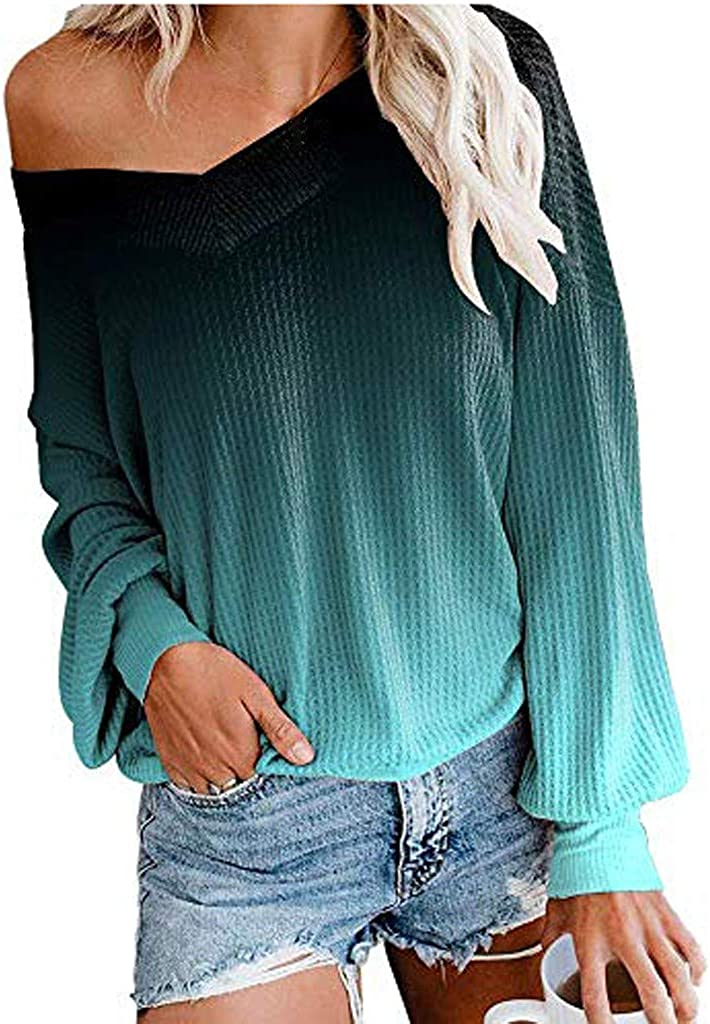 Womens V Neck Off The Shoulder Sweaters Fall Winter Tunics Tops Loose Tunic Pullover Sweatshirts Teen Girls Kaitobe