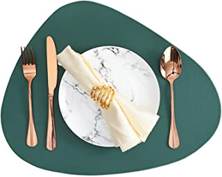 RAILONCH Lot de 6 sets de table lavables en cuir PU aspect cuir imperméable 44 x 36 cm pour la maison, la cuisine, le rest...