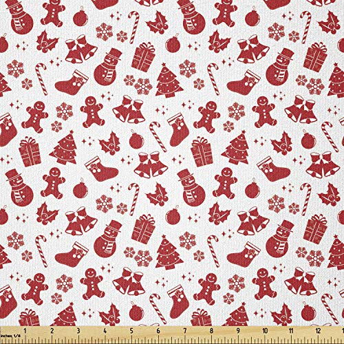 Lunarable Christmas Fabric by The Yard, Pattern with Nostalgic Retro Style Ornaments Snow Bells Gift Theme, Stretch Knit Fabric for Clothing Sewing and Arts Crafts, 2 Yards, White Red