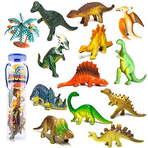 Dreamon Mini Dinosaurier Figuren Set Pädagogisches Realistische Dinos Spielzeug Kunststoff Modell für Kinder (12ST)
